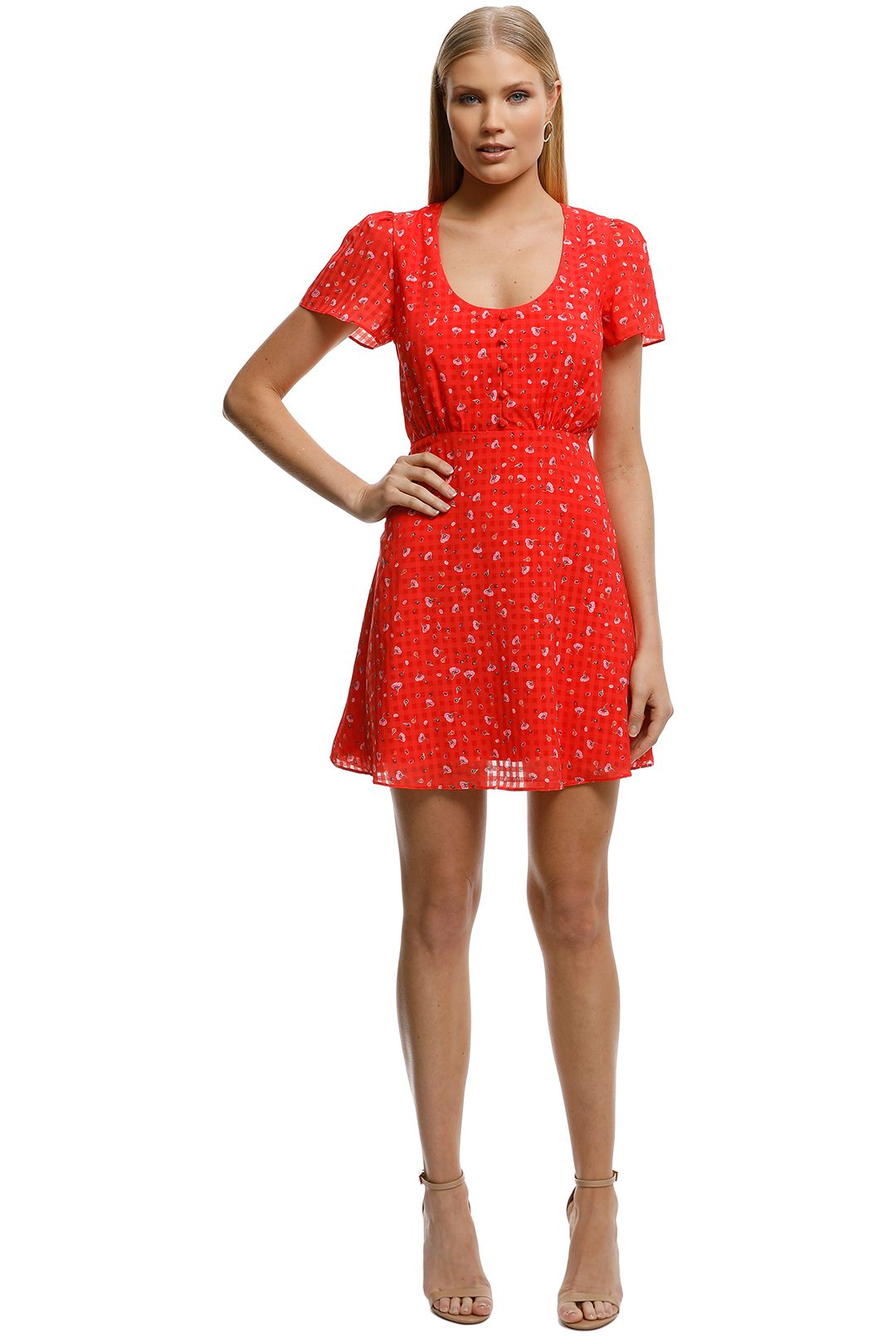 The East Order-Aggy Mini Dress-Orange-Front