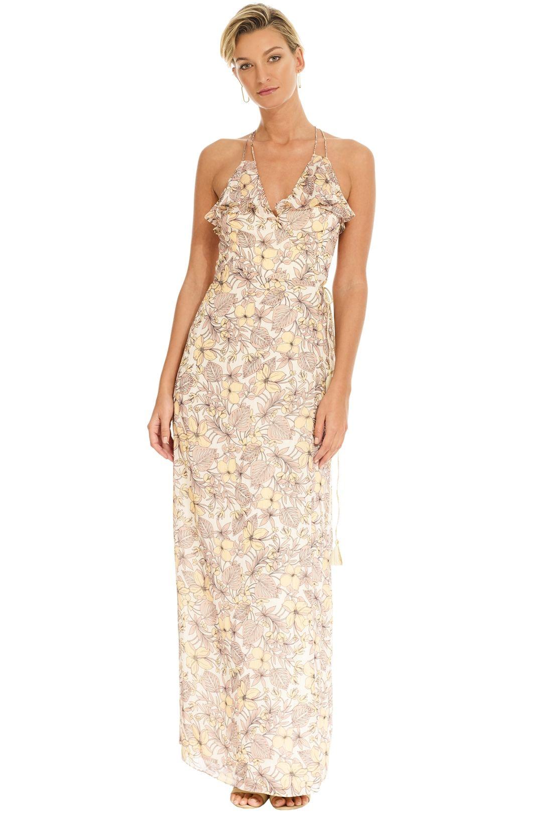 The Jetset Diaries - Frangapani Maxi Dress - Golden Floral - Front