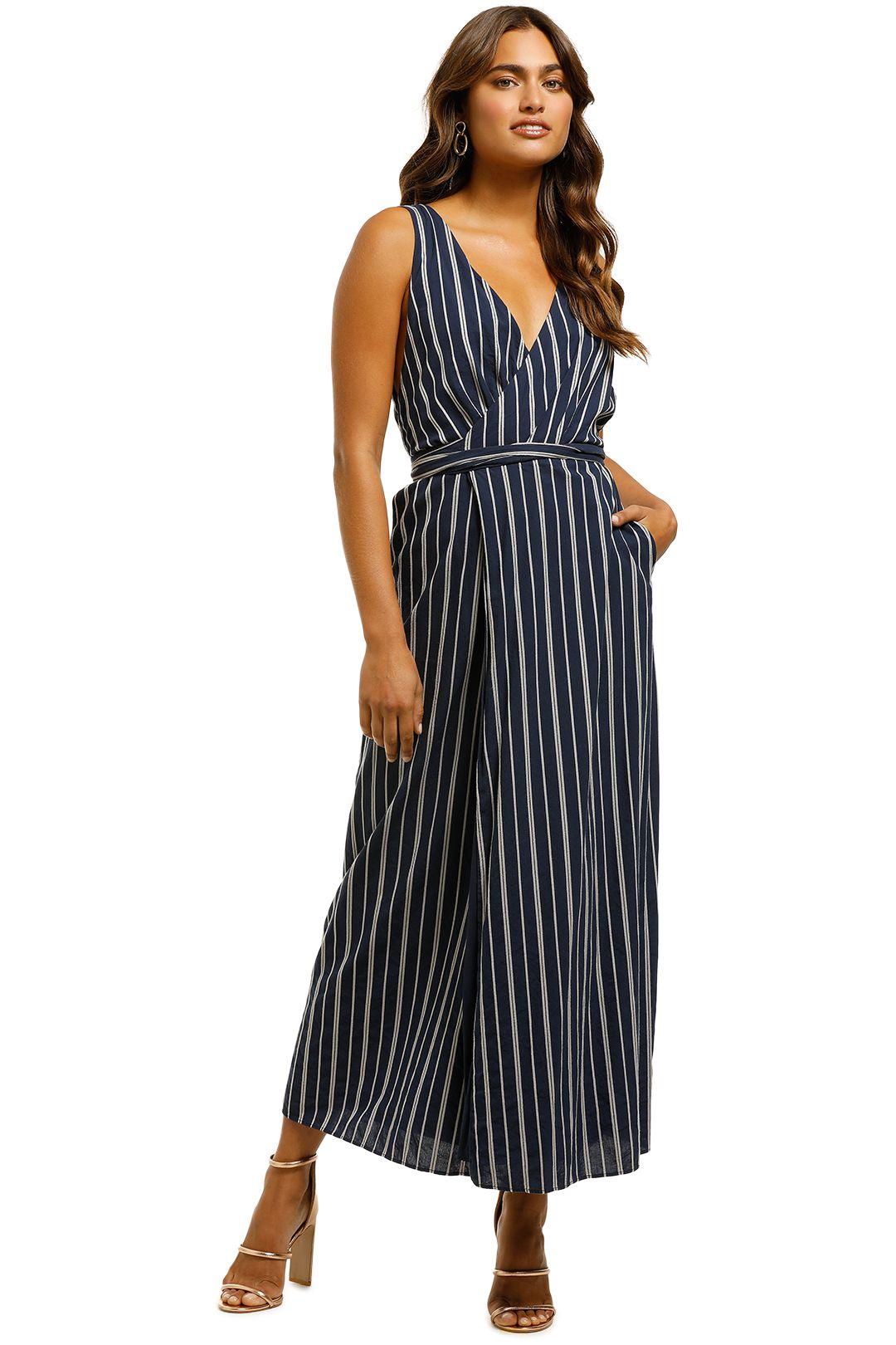 The Jetset Diaries - Kensington Midi Wrap Dress - Navy - Front