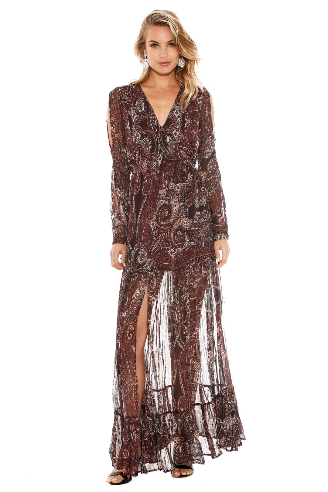 The Jetset Diaries - Labyrinth Paisley Maxi Dress - Burgundy - Front