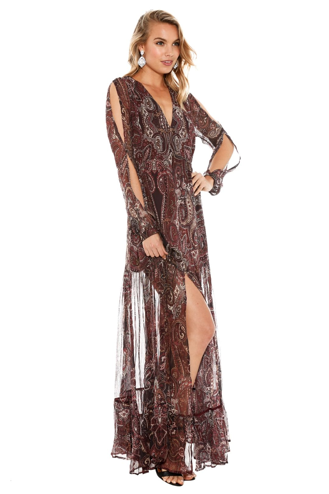 The Jetset Diaries - Labyrinth Paisley Maxi Dress - Burgundy - Side