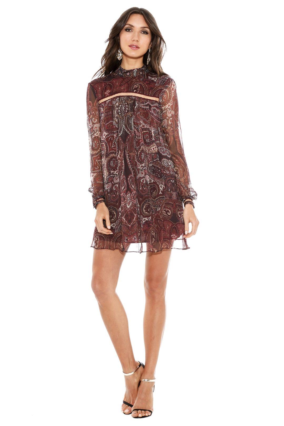 The Jetset Diaries - Labyrinth Paisley Mini Dress - Burgundy - Front