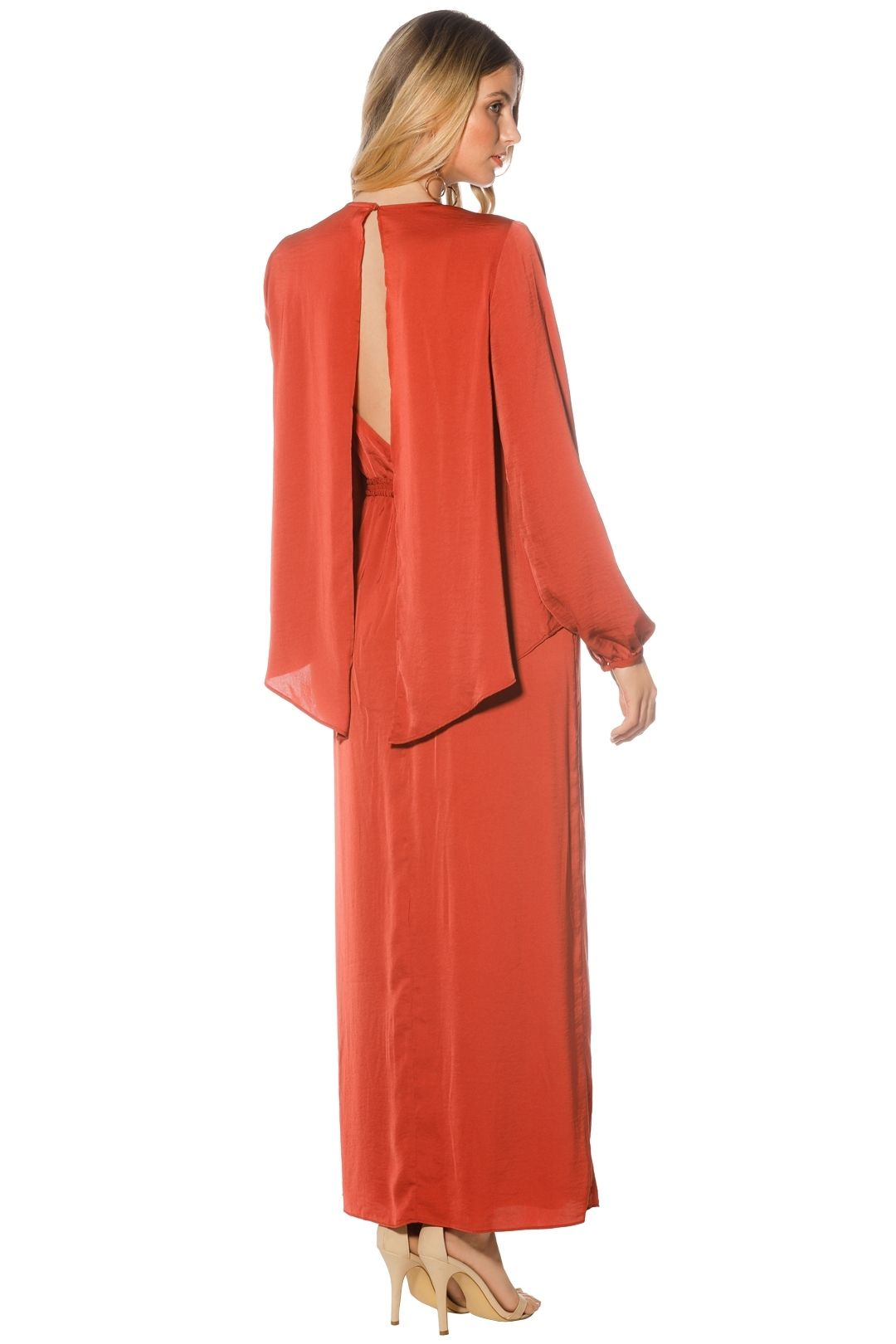 The Jetset Diaries - Siren LS Midi Dress - Saffron - Back