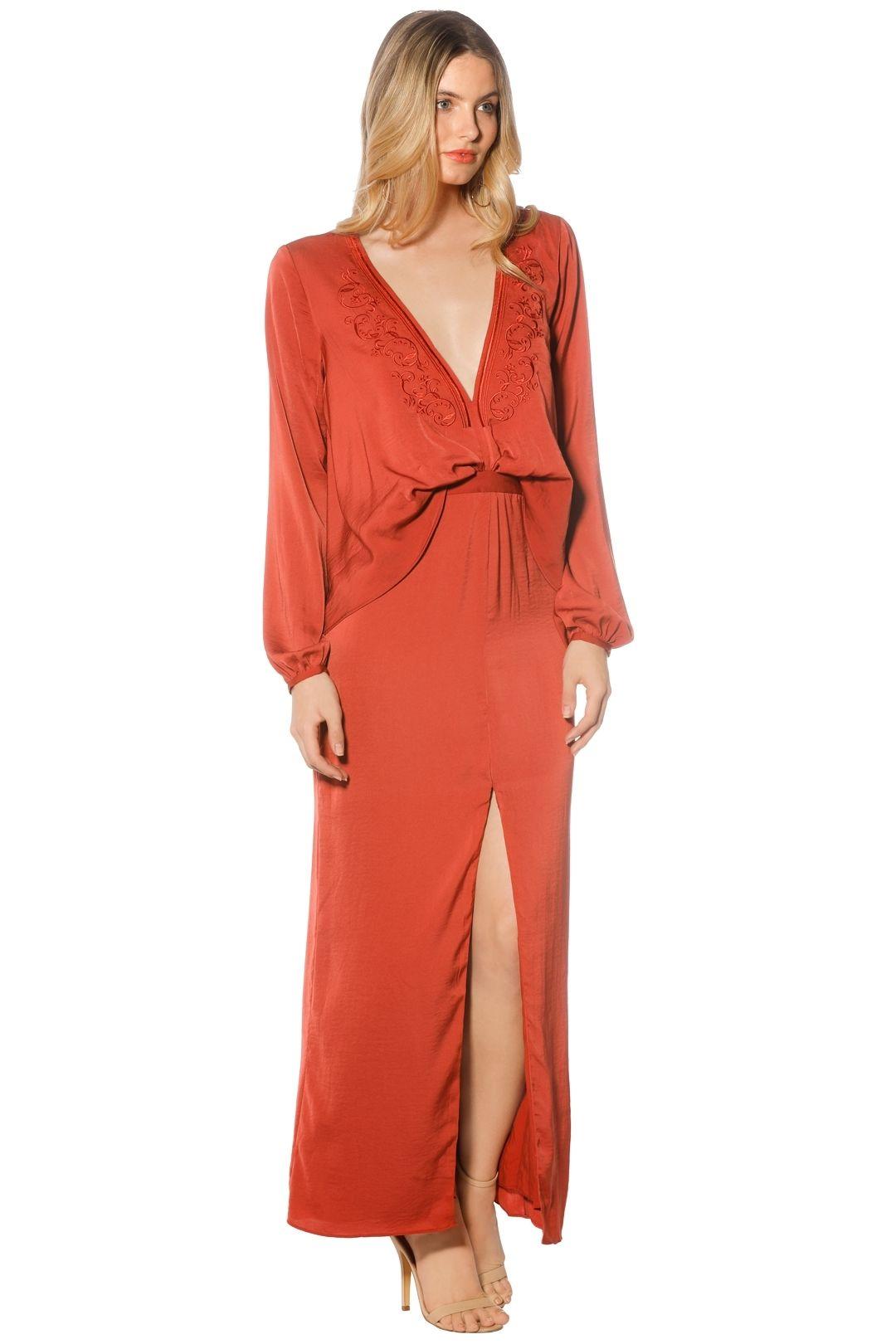 The Jetset Diaries - Siren LS Midi Dress - Saffron - Side