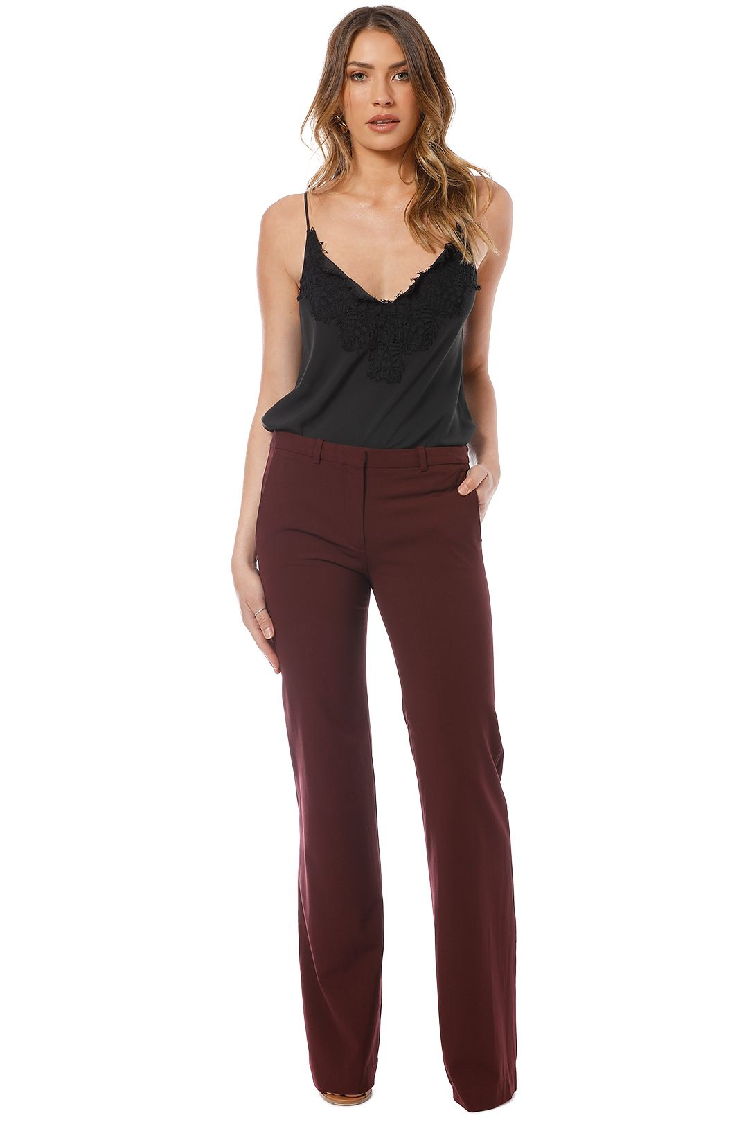 Theory - Crepe Pant - Burgundy - Front