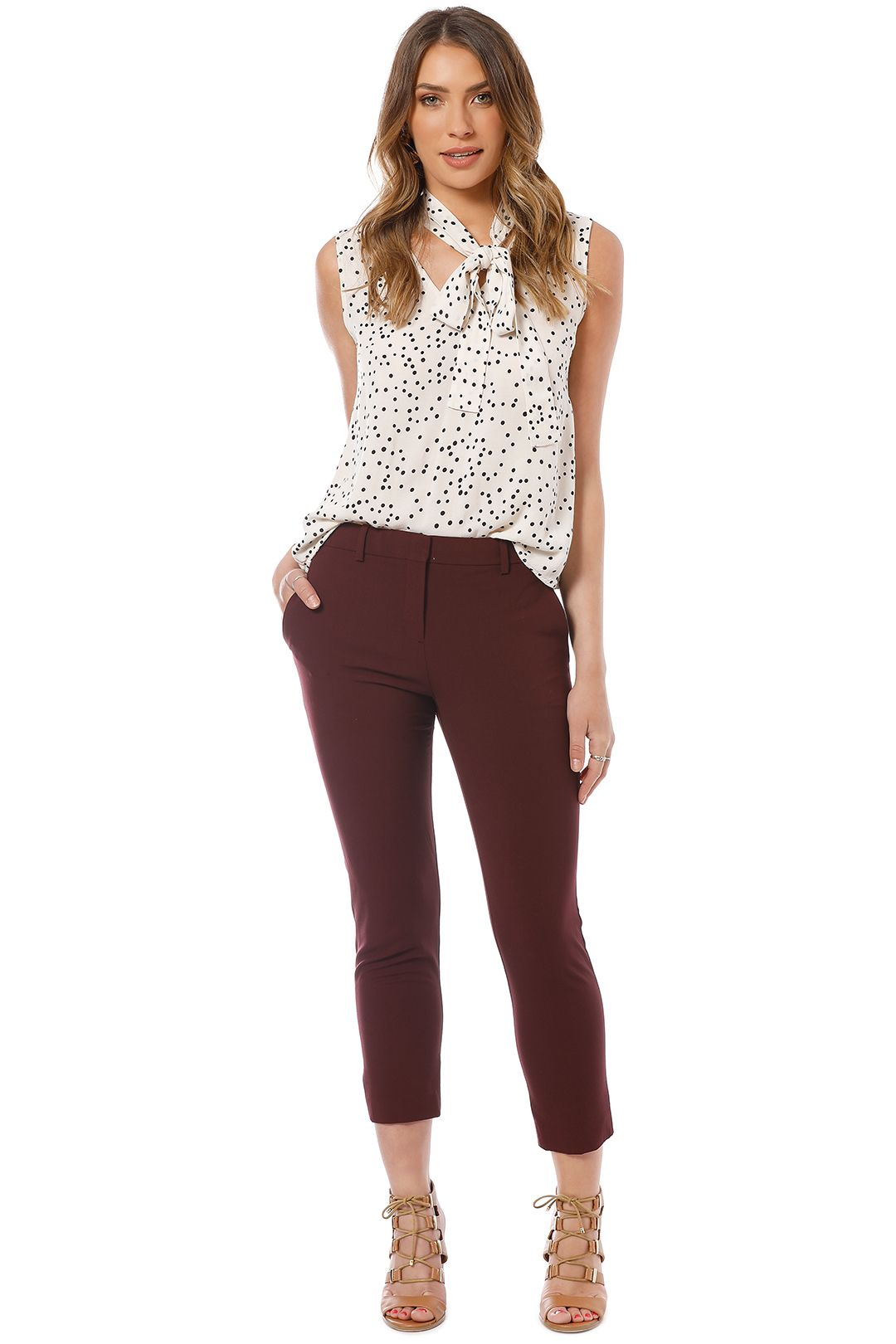 Theory - Essential Pant - Burgundy - Front
