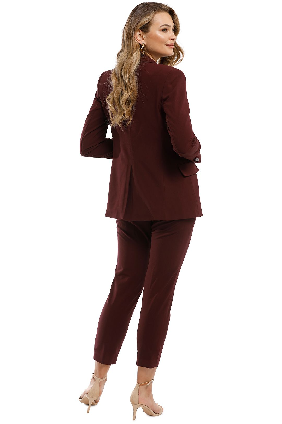 Theory - Essentials Jacket and Pant Set - Burgundy - Back