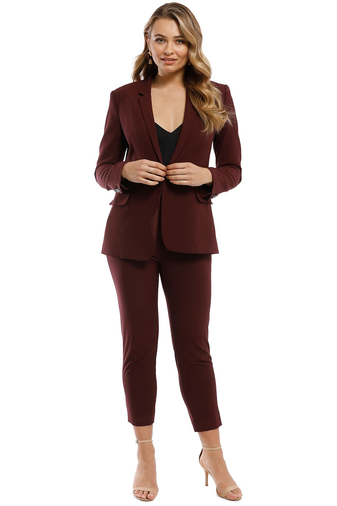 Theory - Essentials Jacket and Pant Set - Burgundy - Front