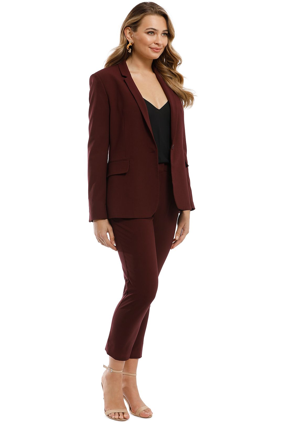 Theory - Essentials Jacket and Pant Set - Burgundy - Side