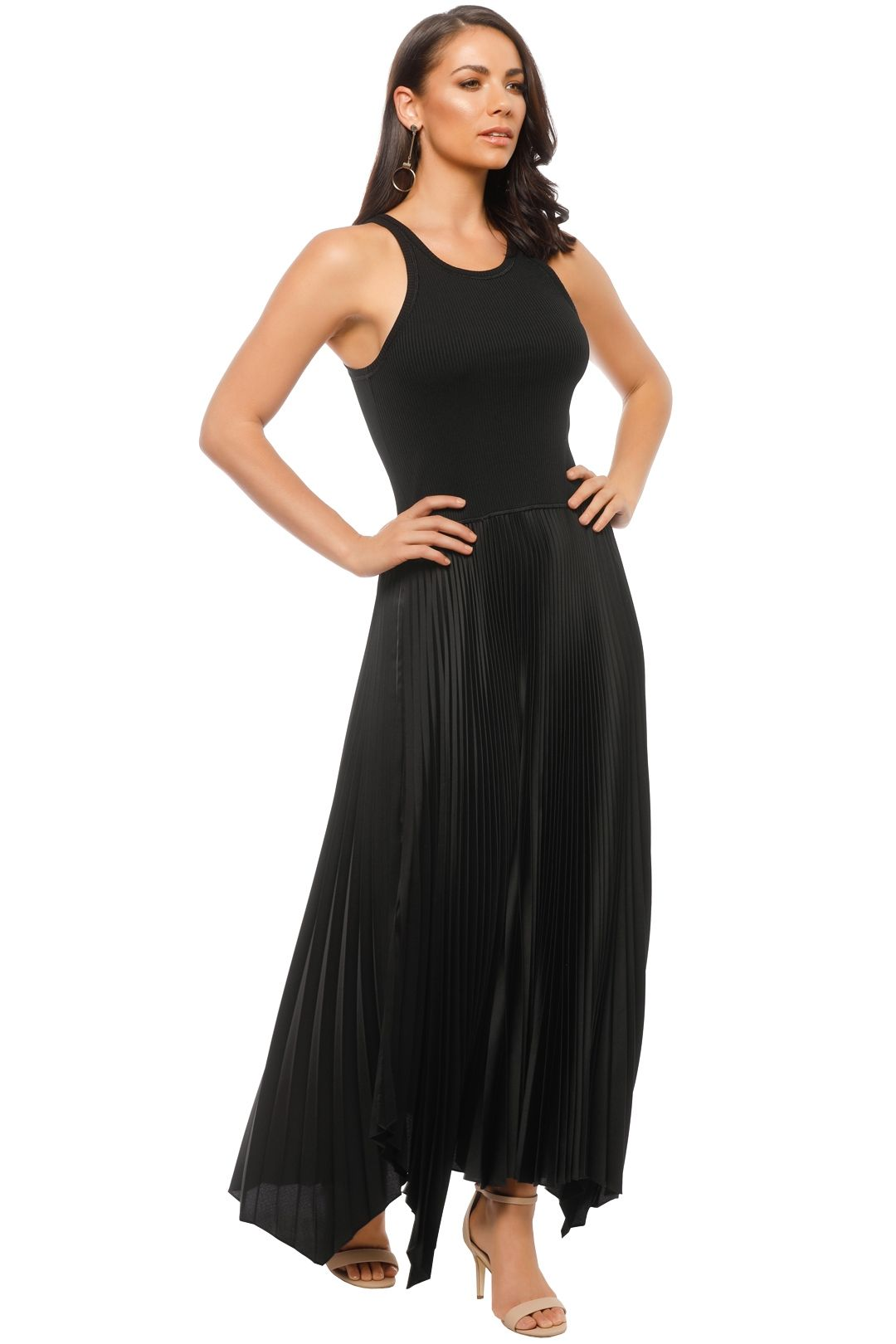 Theory - Vinessi Pleat Dress - Black - Side