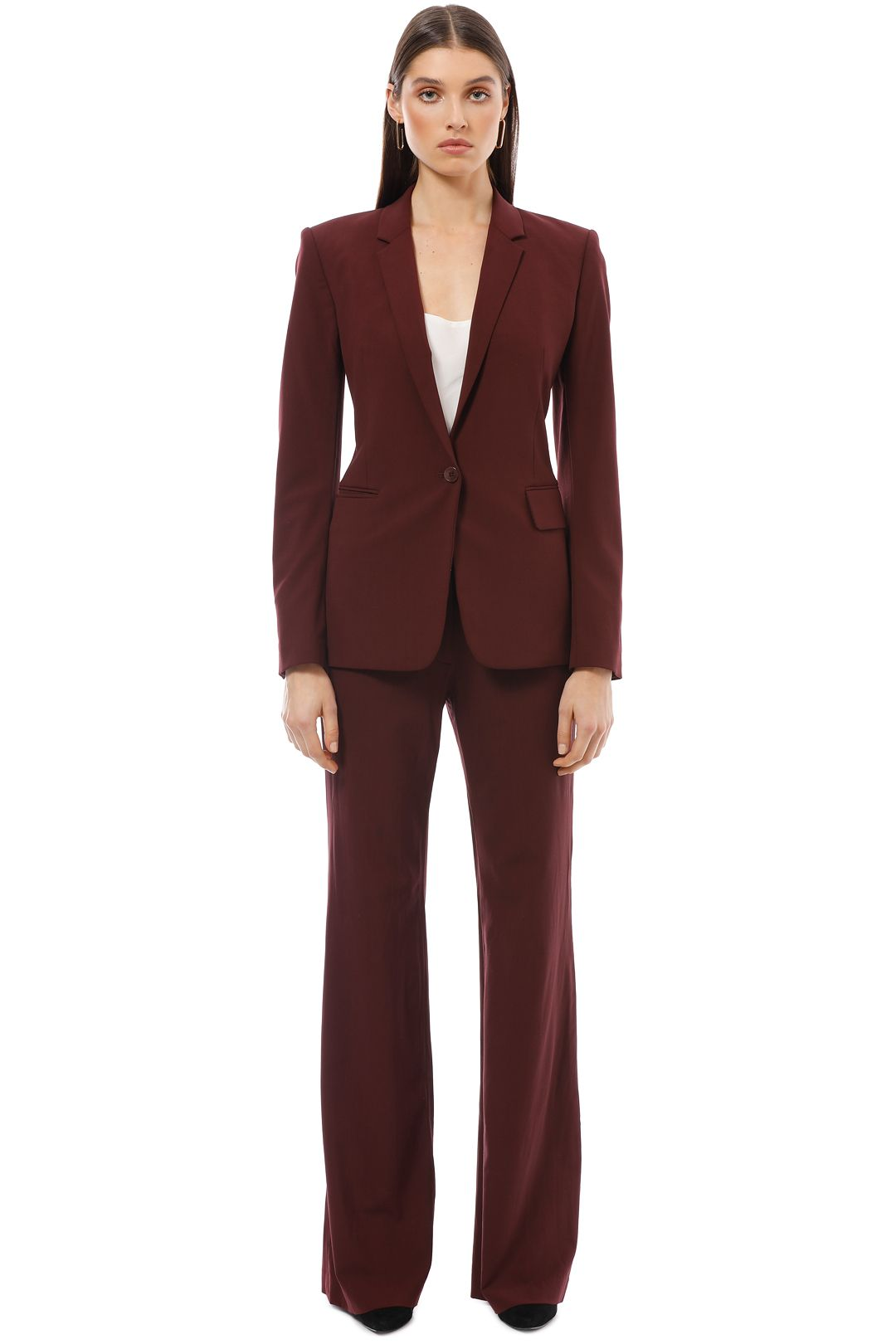 Theory - Crepe Jacket - Burgundy - Front