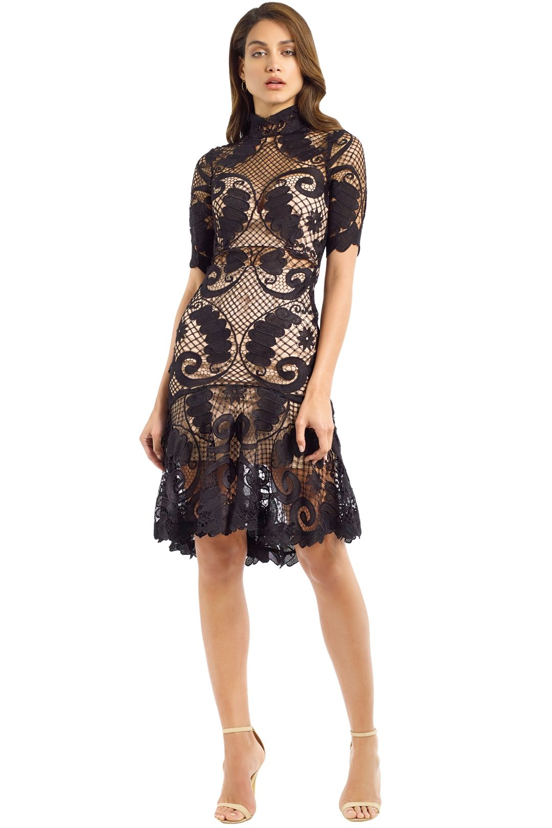 Thurley - Babylon Lace Dress - Black - Front