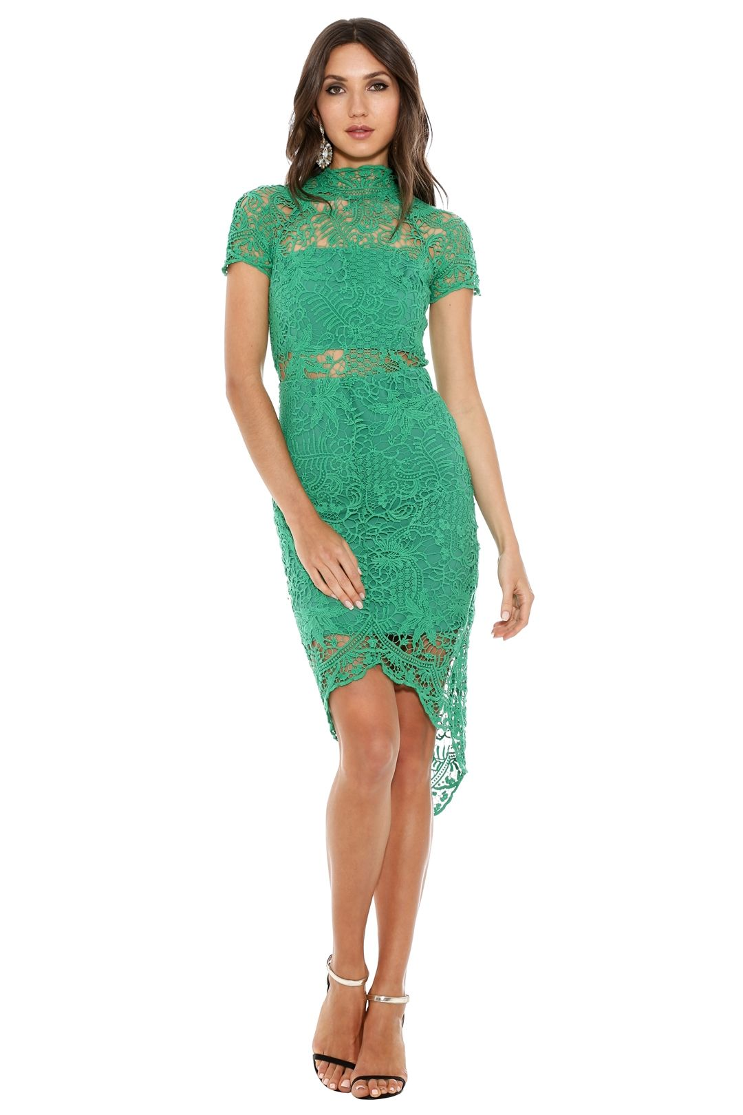 Thurley - Bed of Roses Lace Dress - Green - Front