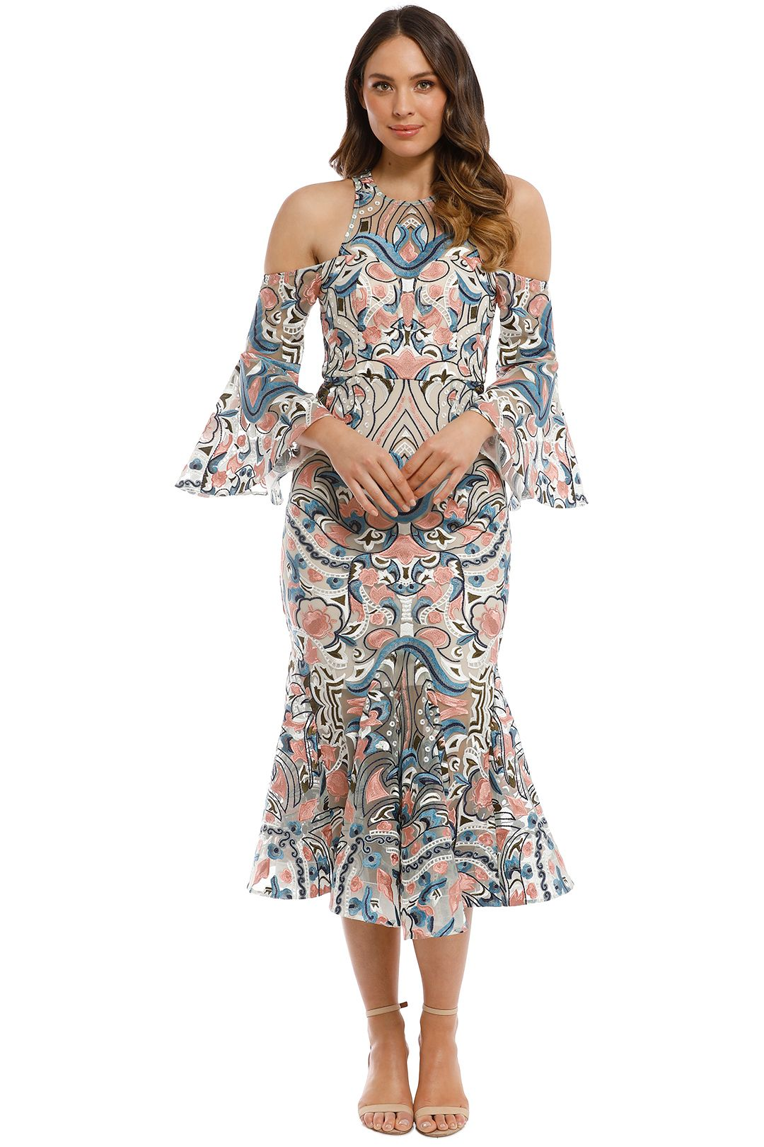 Thurley - Carnival Midi Dress - Peach Multi - Front