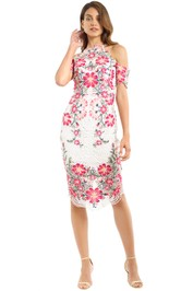 Thurley - Flower Bomb Lace Midi Dress - Pink Multi - Front