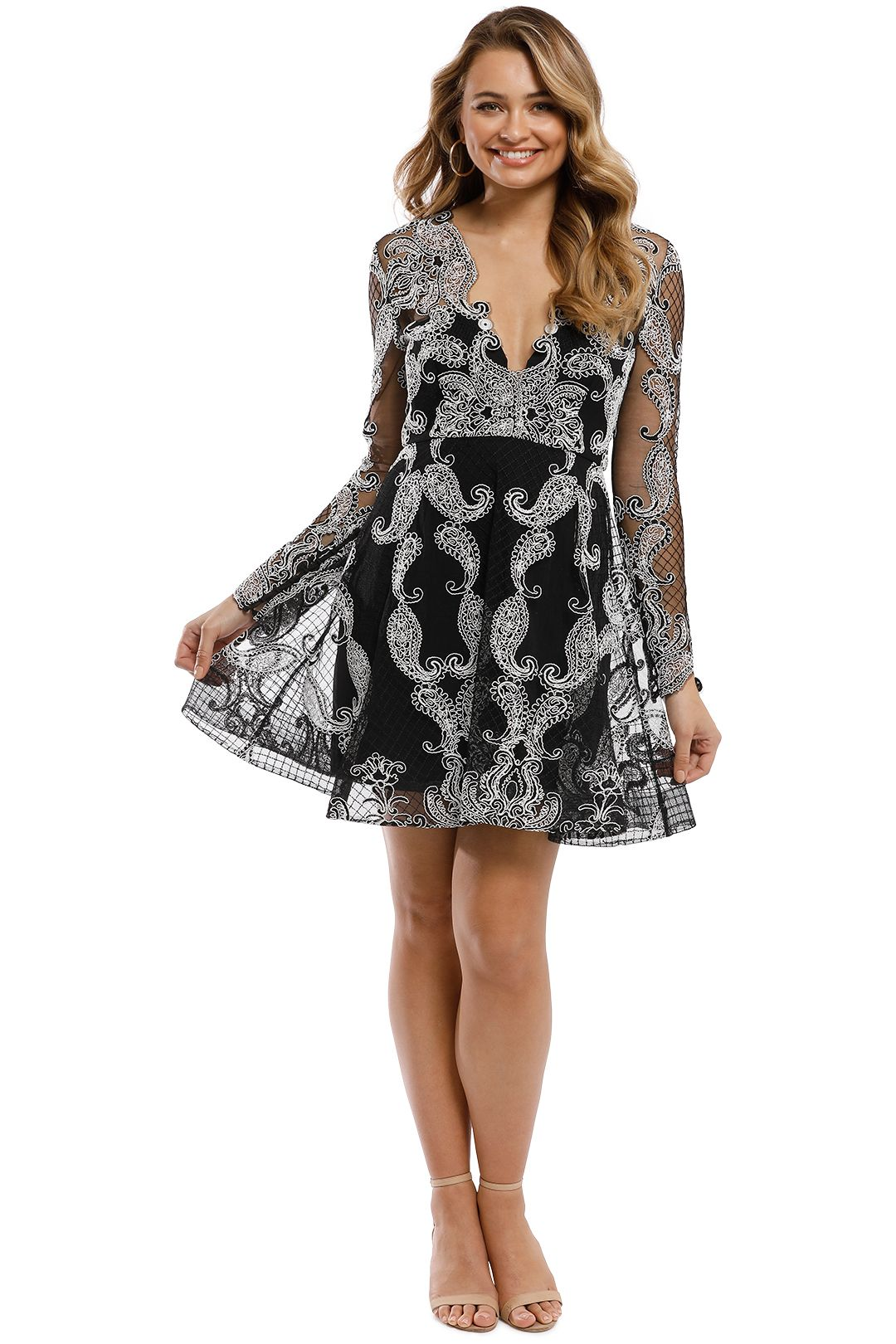 Thurley - Paisley Princess Dress - Black - Front