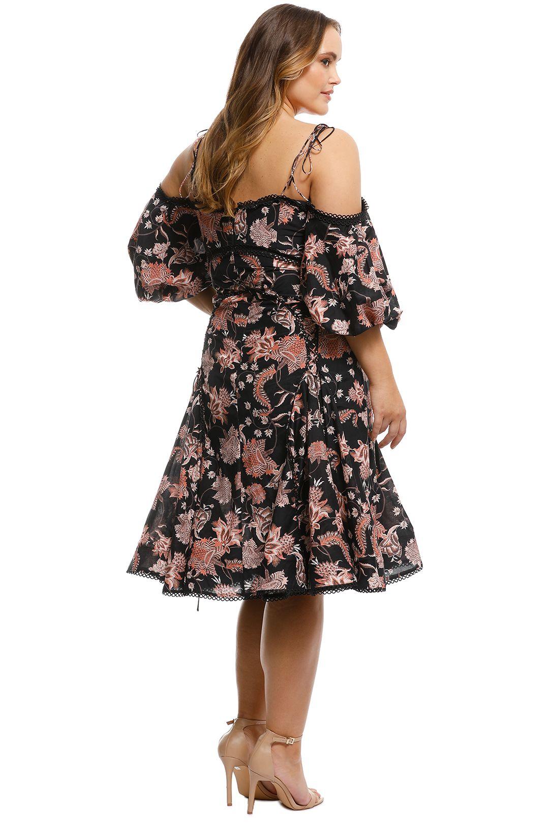 Thurley - Pineapple Chintz Lace Up Midi Dress - Print - Back