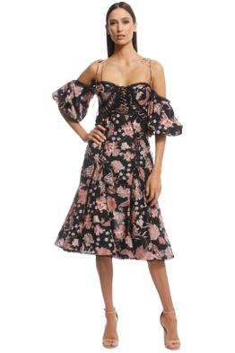 Thurley - Pineapple Chintz Lace Up Midi Dress - Print - Front
