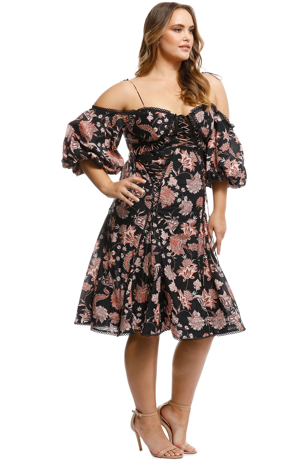 Thurley - Pineapple Chintz Lace Up Midi Dress - Print - Side