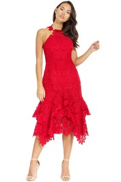 Thurley - Waterlily Midi Dress - Red Rose - Front