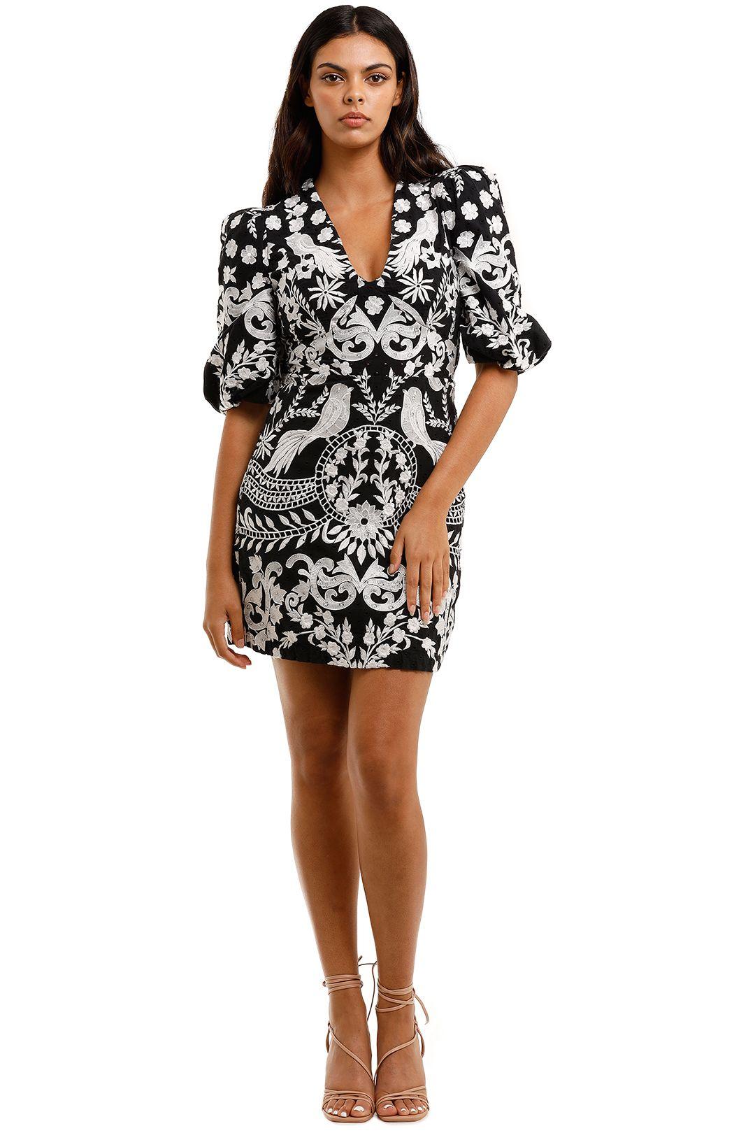Thurley Enchanted Garden Dress Black puff sleeves