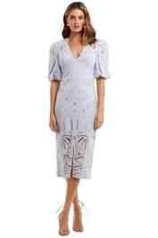 Thurley Persia Midi Dress Blue Heather v neck