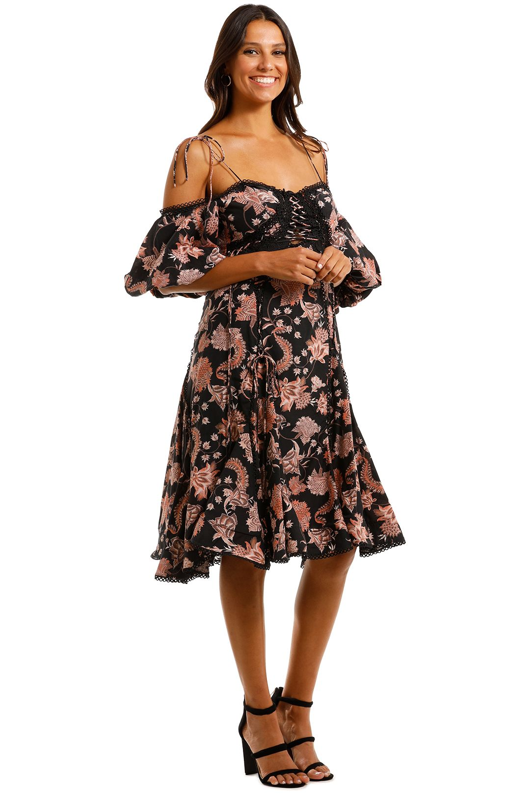 Thurley Pineapple Chintz Lace Up Midi Dress Paisley Print
