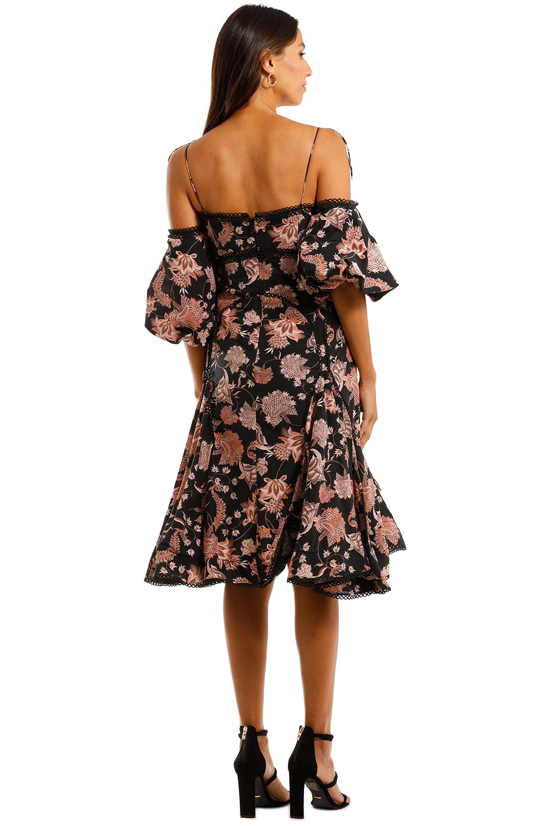 Thurley Pineapple Chintz Lace Up Midi Dress Off Shoulder