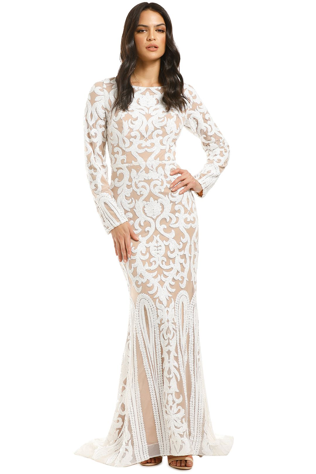 Tinaholy-Scoop-Long-Sleeve-Gown-White-Nude-Front