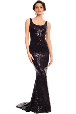 Tinaholy - Annalise Sequin Gown - Black - Front