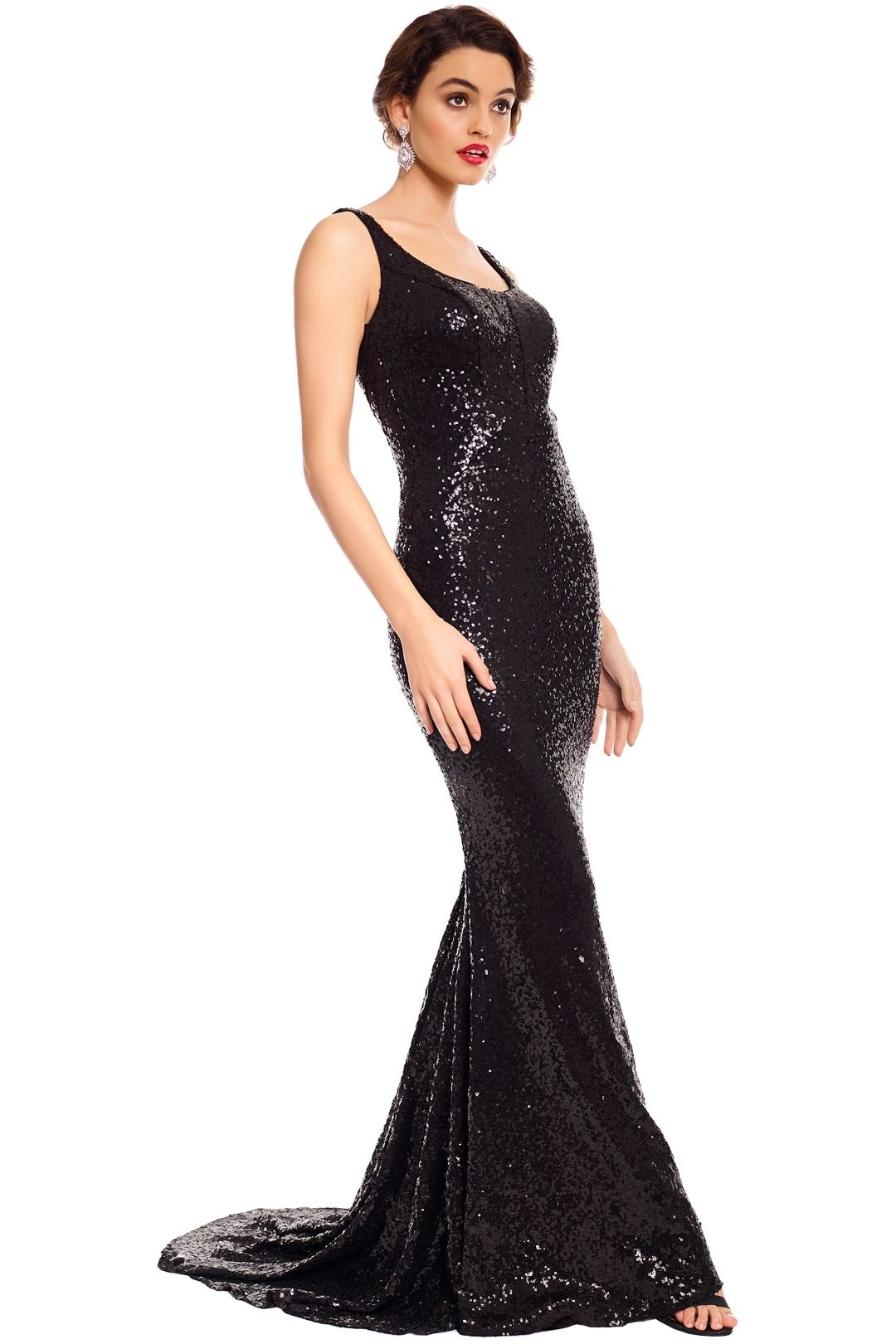 Tinaholy - Annalise Sequin Gown - Black - Side