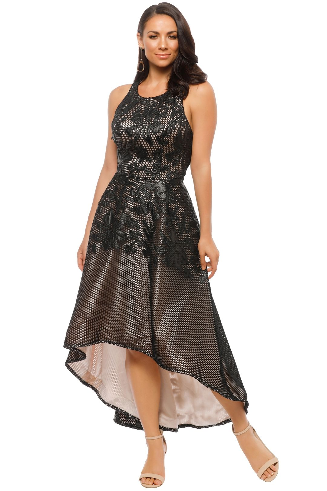 Tinaholy - Floral Lace Dress - Black - Front