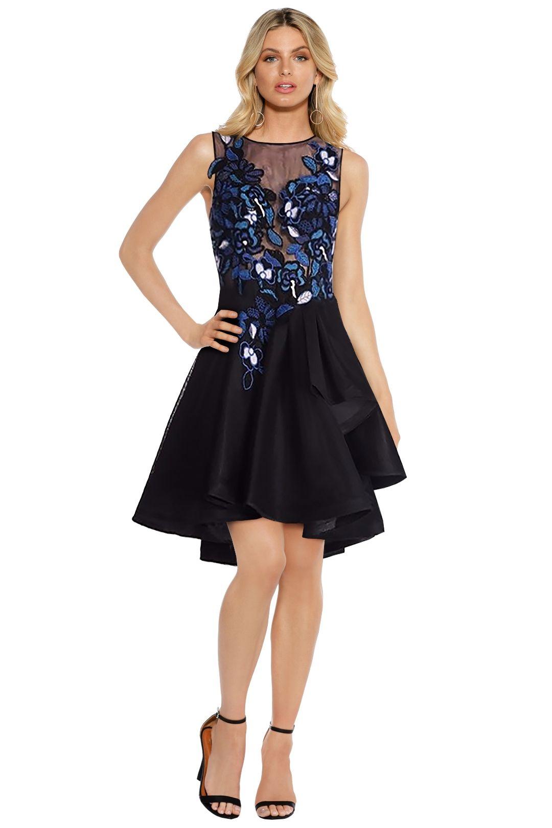 Tinaholy - Floral Mesh Mini Dress - Black Floral - Front