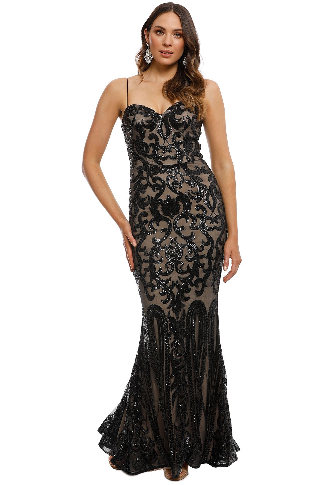 Tinaholy - Odessa Sequin Gown - Black - Front