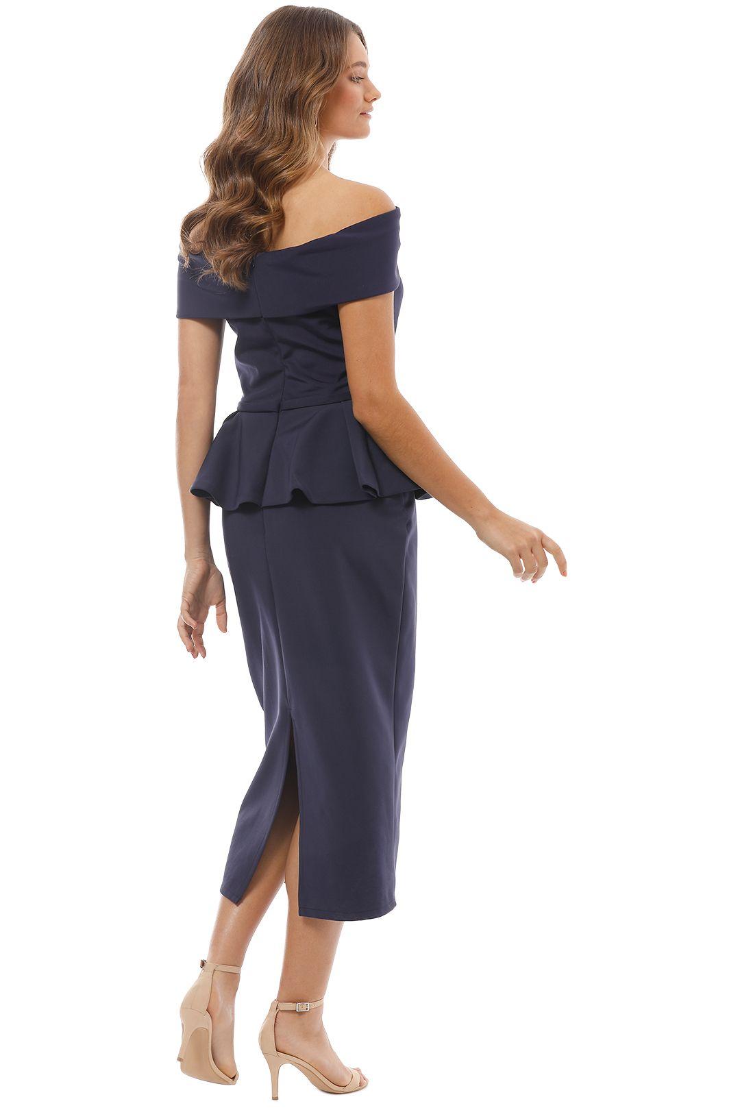 Tinaholy - Navy Off Shoulder Peplum Dress - Back