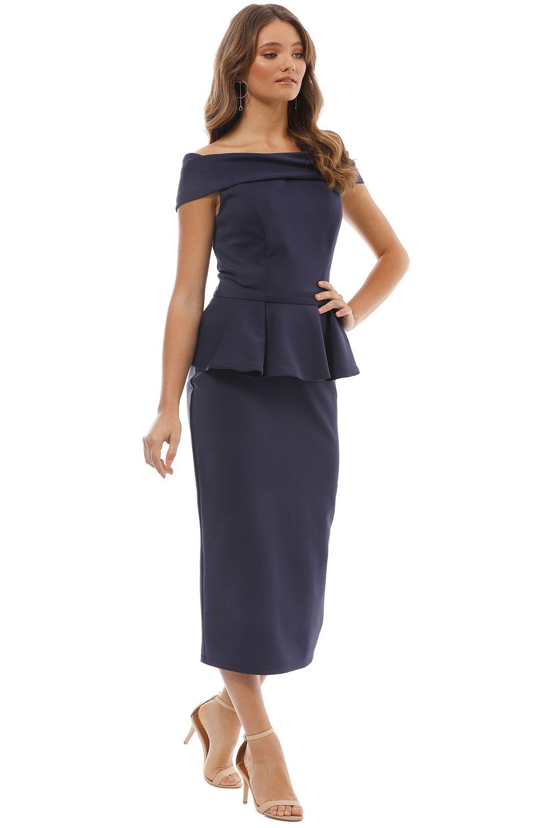 Tinaholy - Navy Off Shoulder Peplum Dress - Side