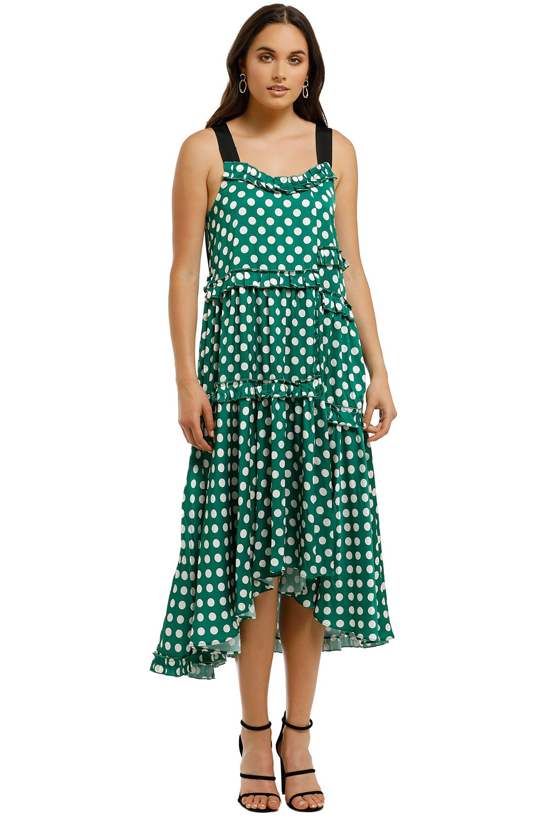 Trelise-Cooper-Pleat-Wave-Dress-Green-Front
