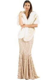 Tulip Bridal - Faux Fur Bridal Stole - Ivory - Front