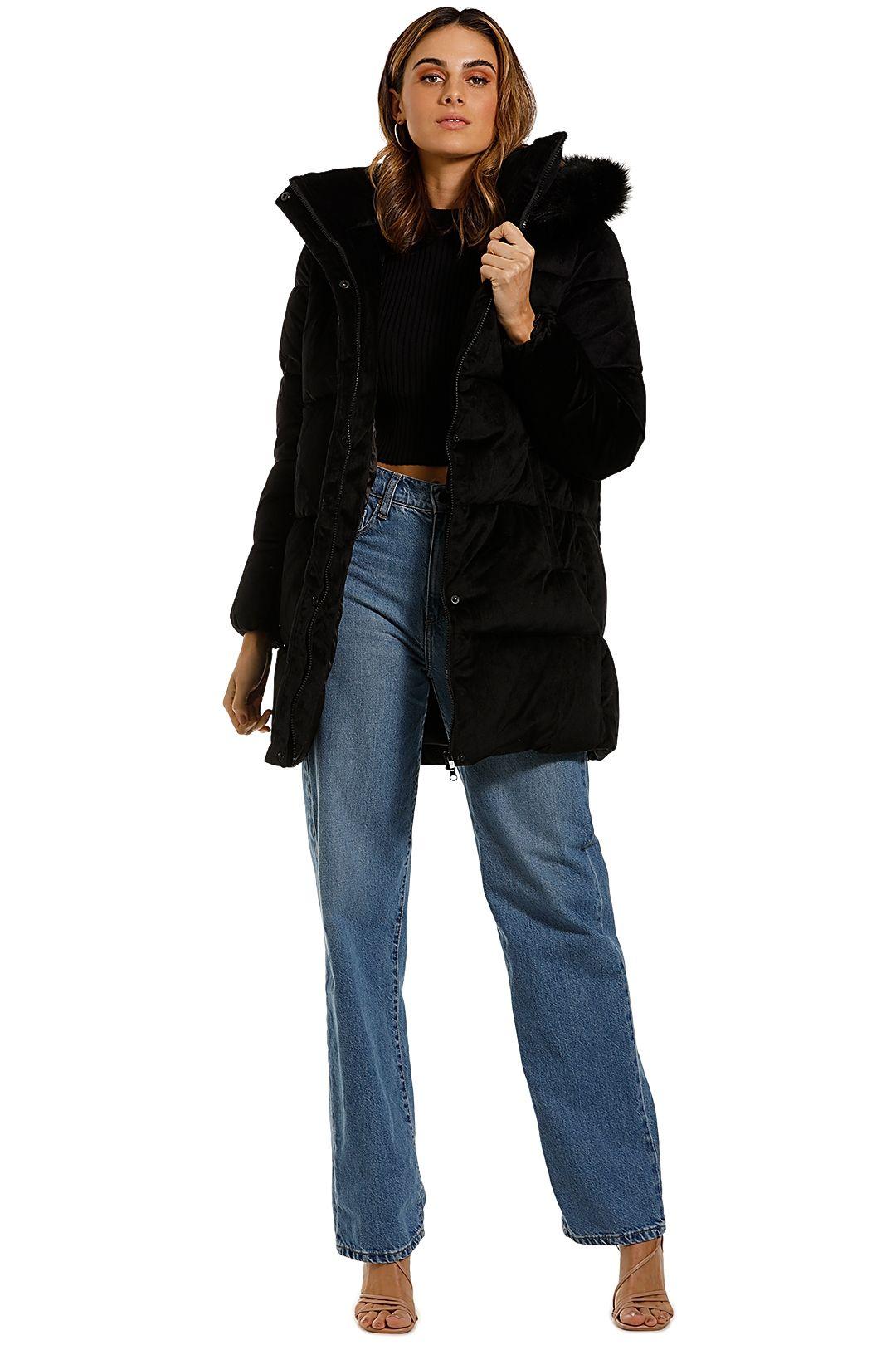Unreal Fur Black Star Coat Fur Trim