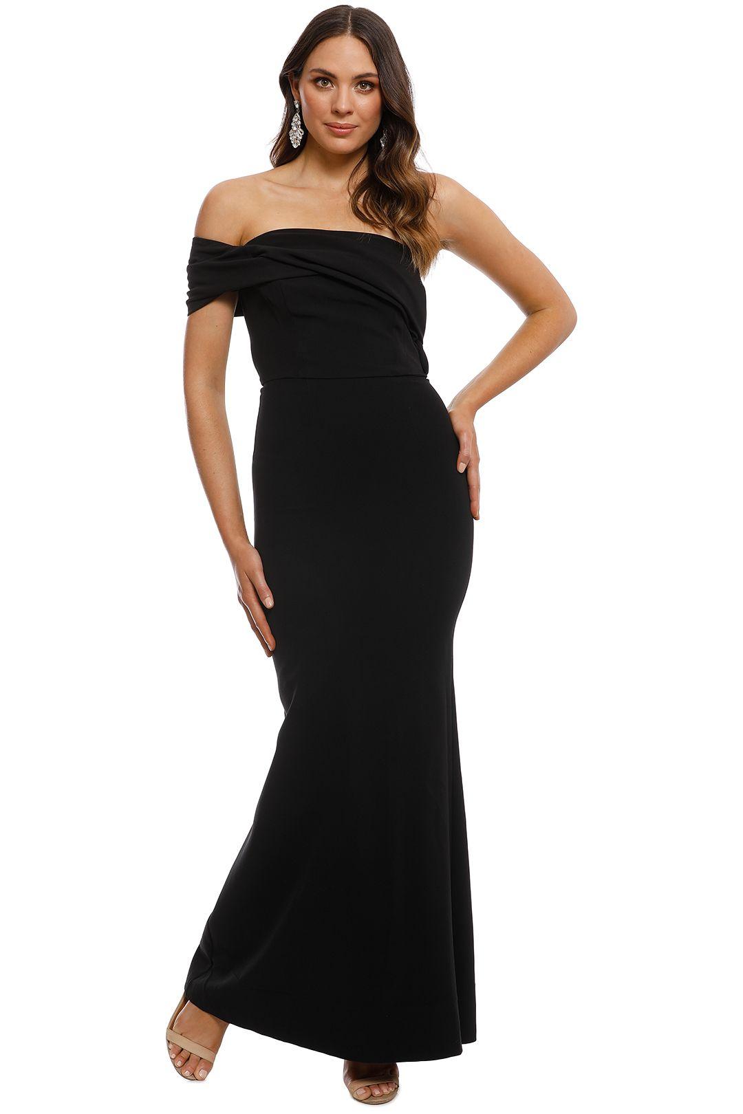 Unspoken - Aster One Shoulder Dress - Black - Front