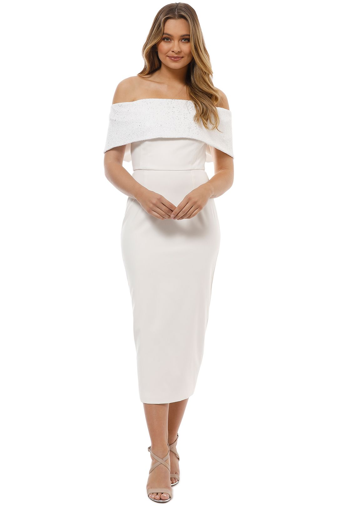 Unspoken - Camille Off Shoulder Dress - Ivory - Front