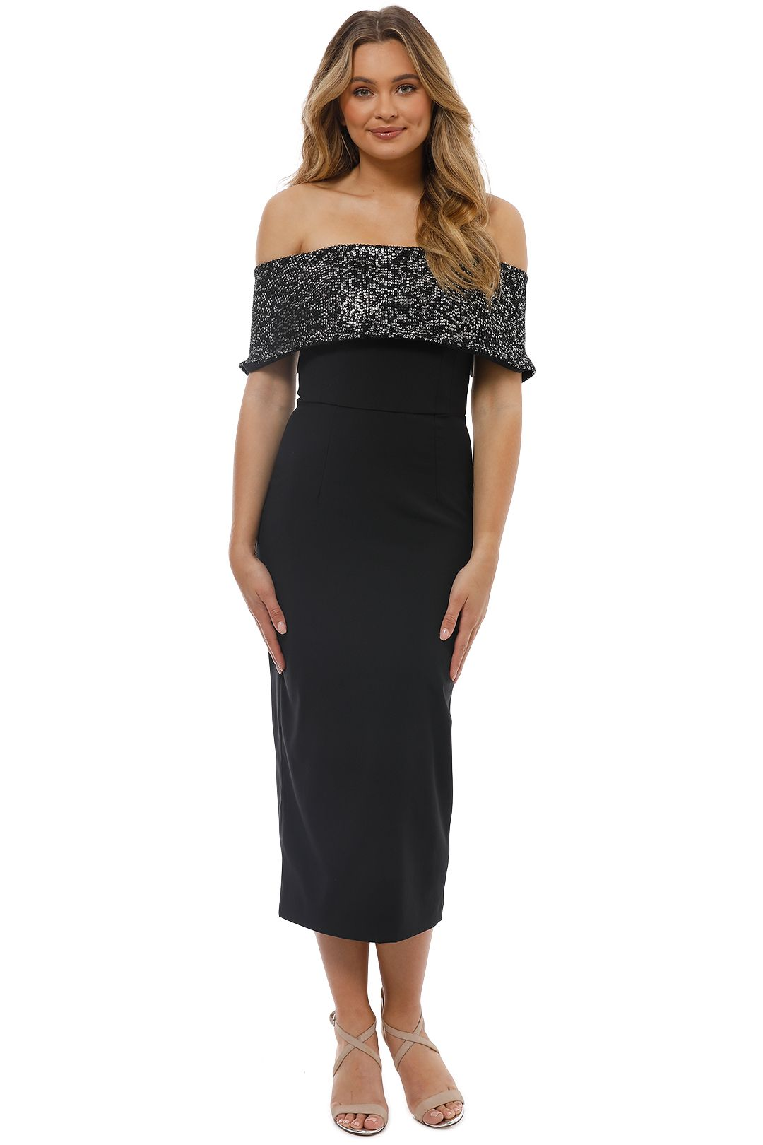 Unspoken - Camille Off Shoulder Dress - Black - Front