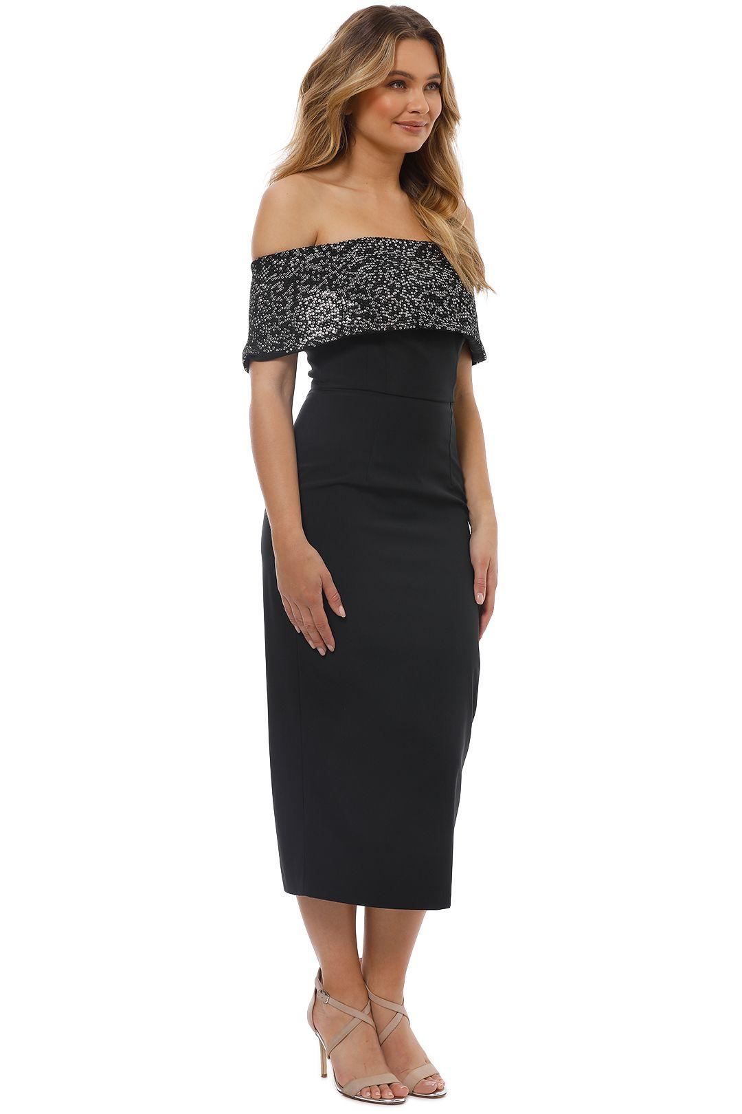 Unspoken - Camille Off Shoulder Dress - Black - Side