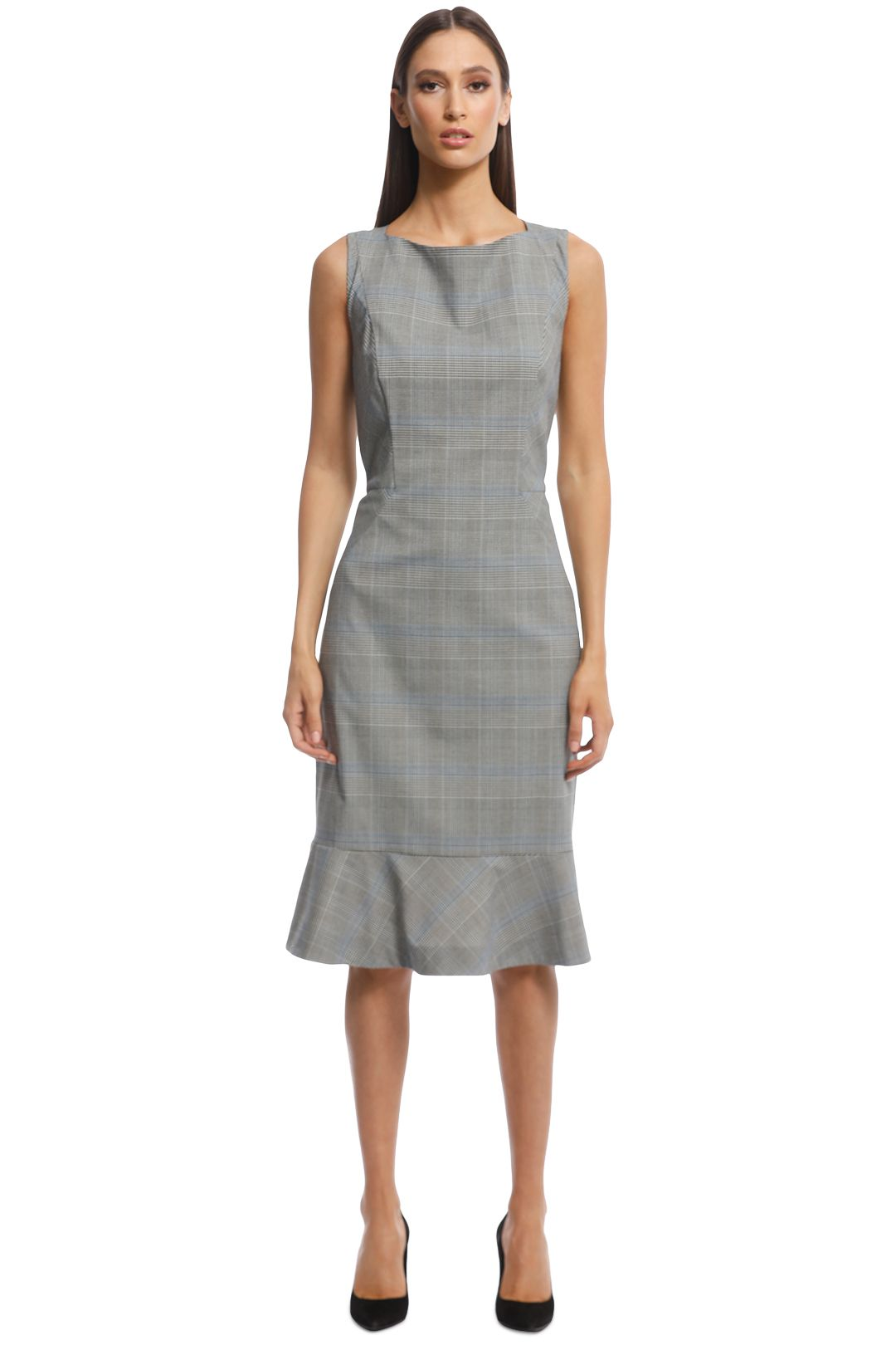 Veronika Maine - Check Fluted Hem Dress - Grey - Front