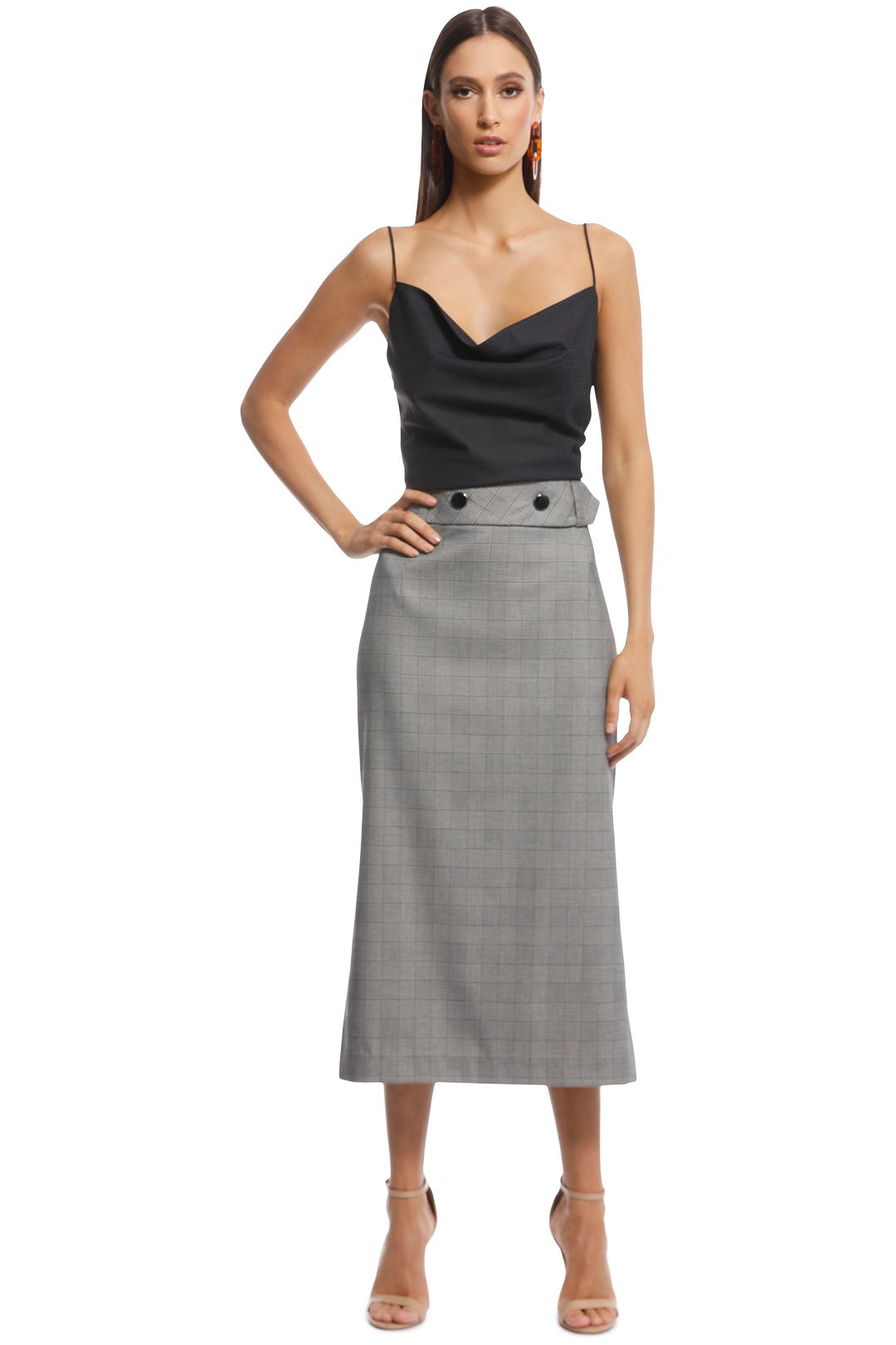 Veronika Maine - Check Midi Pencil Skirt - Front
