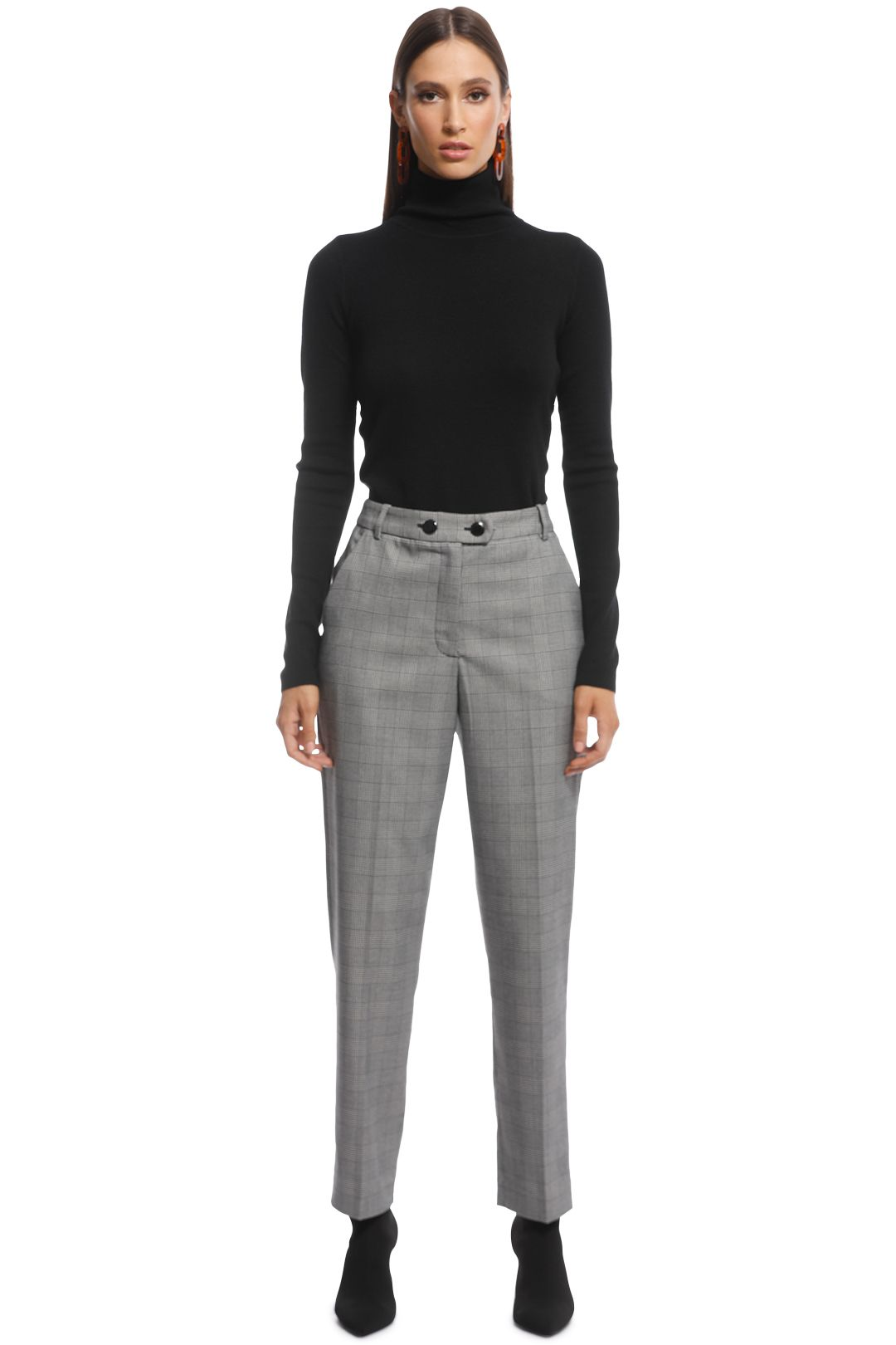 Veronika Maine - Check Slim Pant - Black White - Front