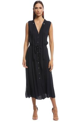 Veronika Maine - Double Georgette Tie Dress - Navy - Front