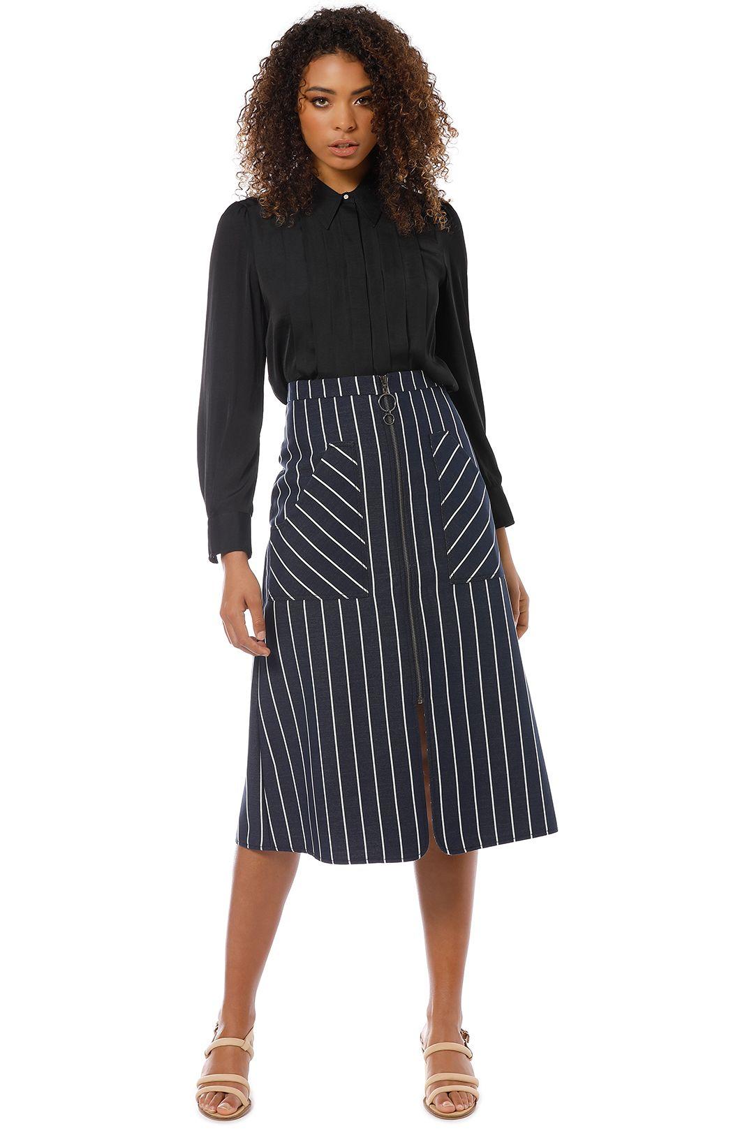 Veronika Maine - Dull Satin Pleated Shirt - Black - Front