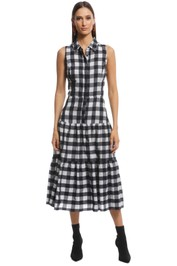 Veronika Maine - Gingham Check Midi Dress - Black White - Front