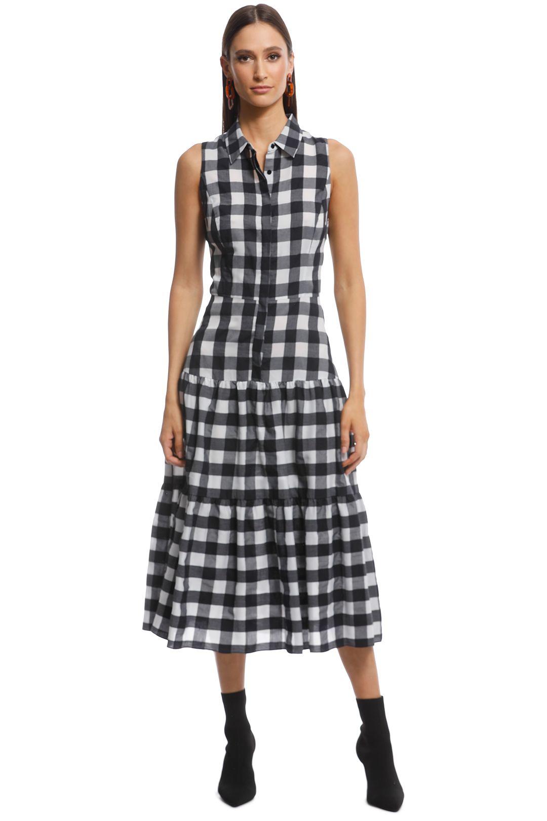 Veronika Maine - Gingham Check Midi Dress - Black White - Front